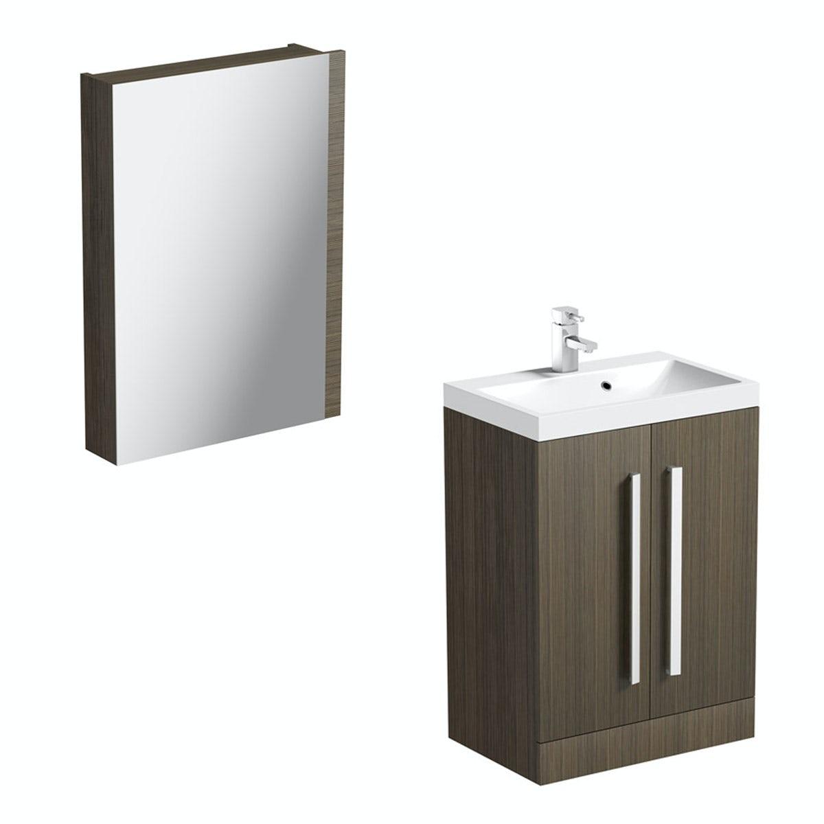Arden Walnut Vanity Unit With Basin & Mirror - 600mm - Floor Standing