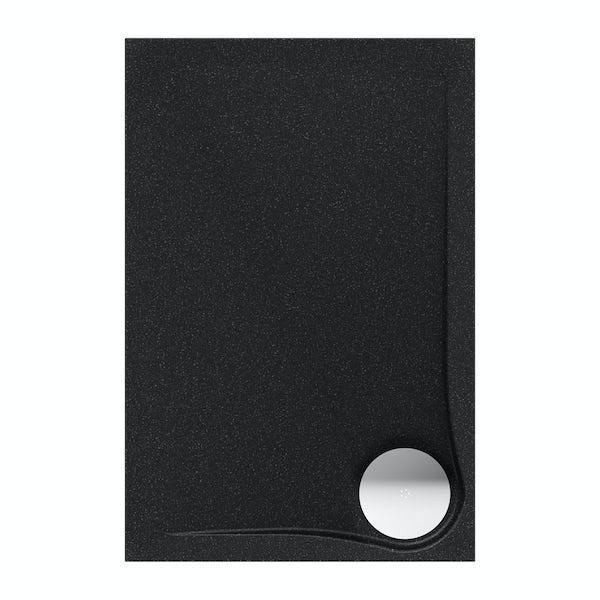 Black granite effect left handed rectangular stone shower tray 1200 x 800