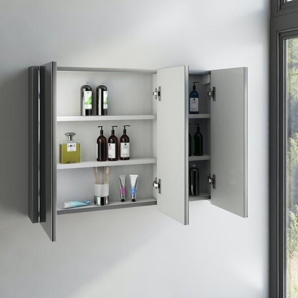 Orchard Derwent stone grey vanity drawer unit 1000mm and mirror 900mm