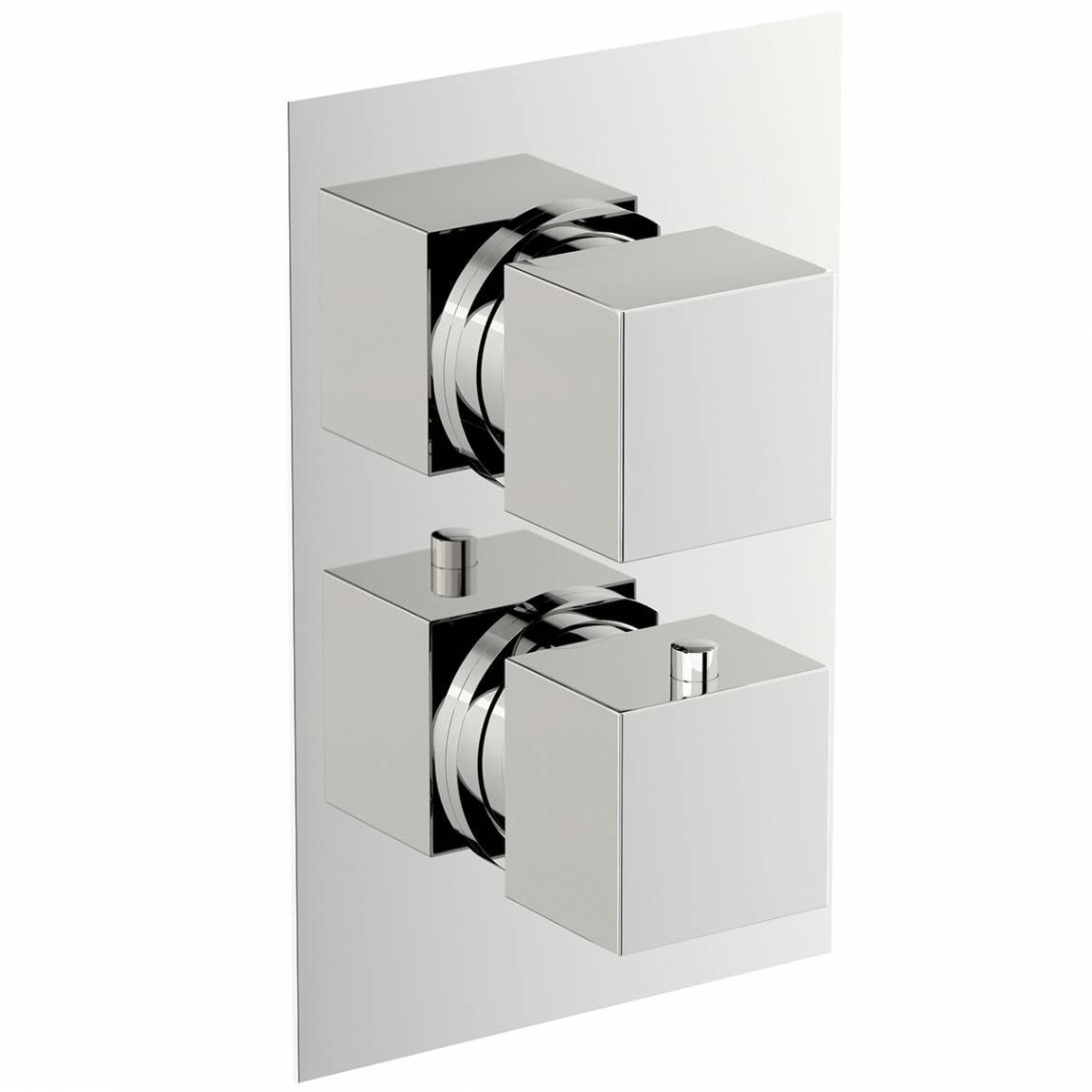 Mode Cubik square twin thermostatic shower valve with diverter