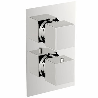 Mode Cubik square twin thermostatic shower valve with diverter offer pack