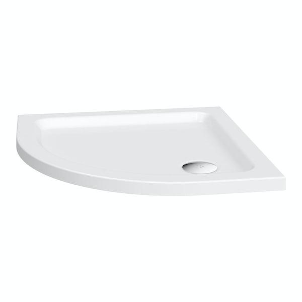 The Bath Co. Winchester Oak ensuite suite with quadrant shower enclosure, tray and taps