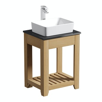 The Bath Co. Hoxton oak washstand 600mm with black marble top and Baikal basin
