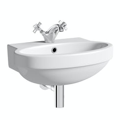Deco 1 tap hole wall hung basin 490mm