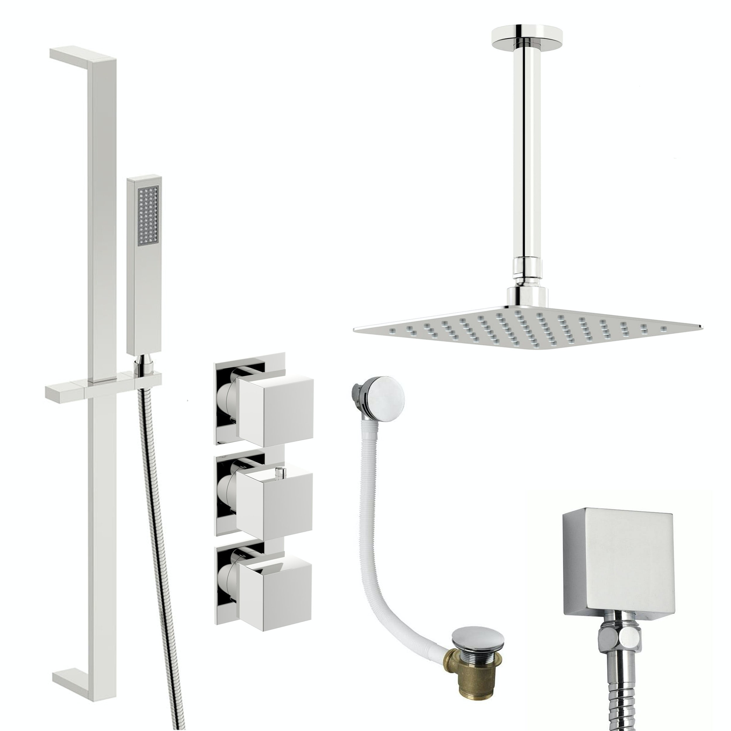 Mode Cooper thermostatic shower valve with complete ceiling shower bath set