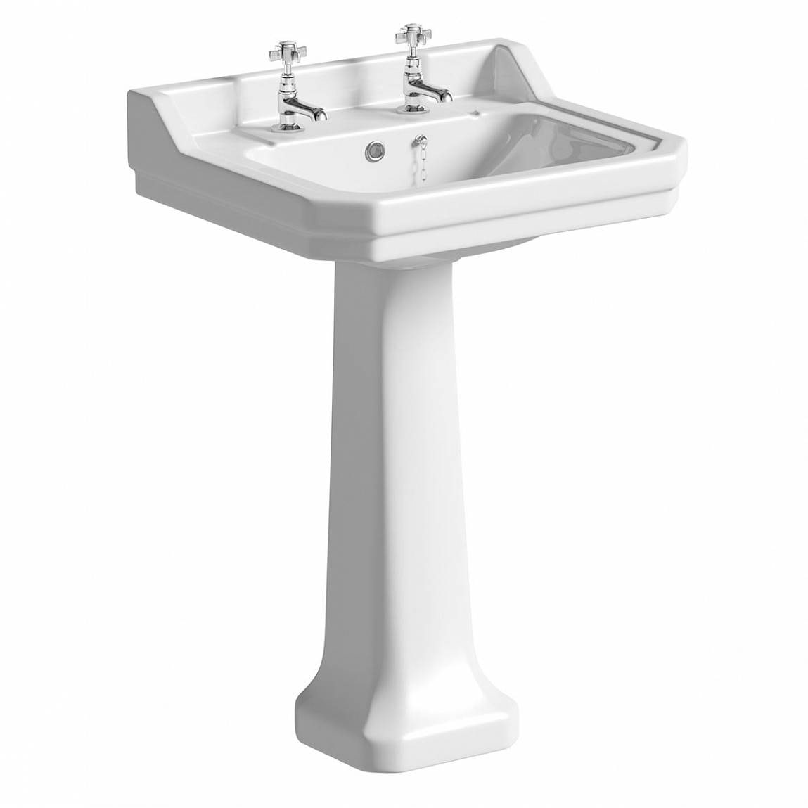 The Bath Co. Camberley 2 tap hole full pedestal basin 550mm with waste