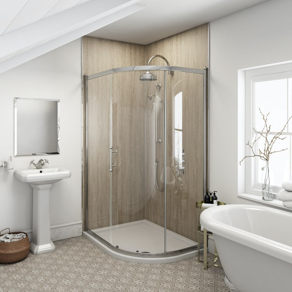 Multipanel Heritage Delano Oak unlipped shower wall panel 2400 x 1200