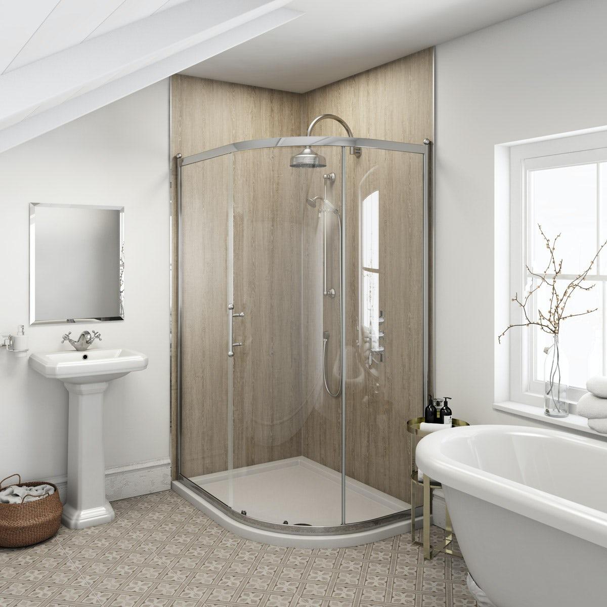 Multipanel Heritage Delano Oak unlipped shower wall panel 2400 x 1200