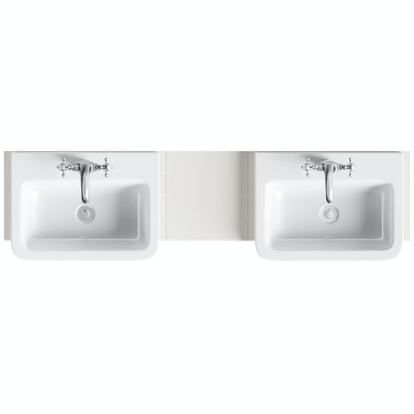 The Bath Co. Dulwich stone ivory double basin & open storage combination