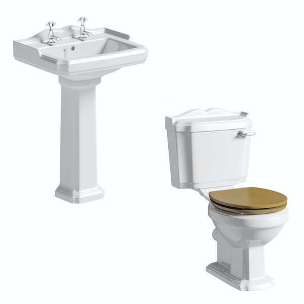 Winchester close coupled toilet suite with oak seat and full pedestal basin 600mm