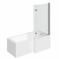 Boston right handed L shaped shower bath 1500mm with 8mm hinged shower screen
