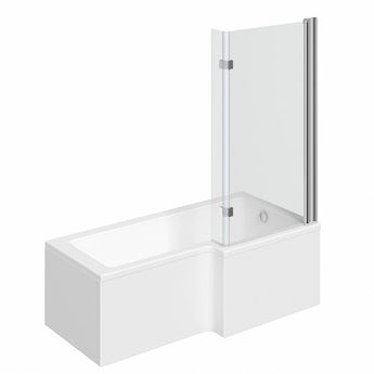 L shaped right handed shower bath 1500mm with 8mm hinged shower screen
