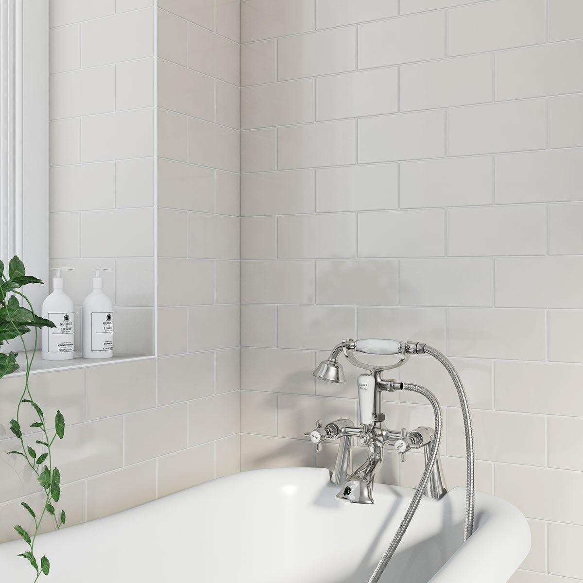 British Ceramic Tile Metro Cream Gloss 100mm x 200mm - Box of 50