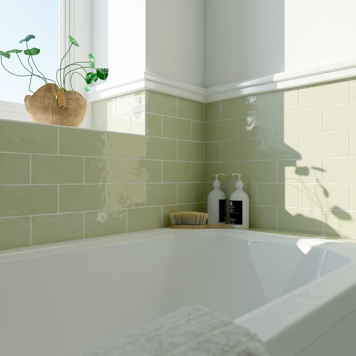 Laura Ashley Artisan willow green gloss wall tile 75mm x 150mm