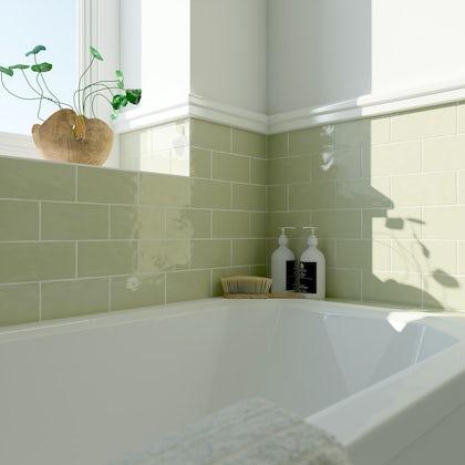 Laura Ashley Artisan willow green wall tile 75mm x 150mm