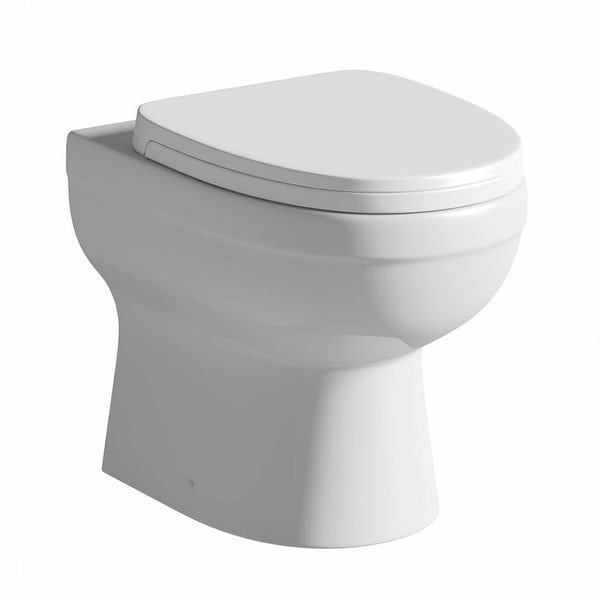 Eden back to wall toilet with soft close toilet seat