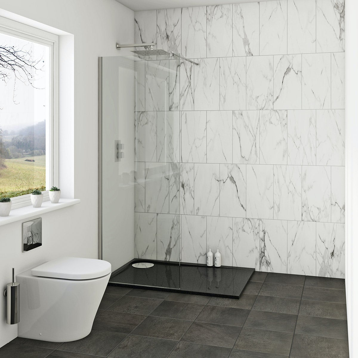 Mode 8mm Wet Room Panel 700mm With Rh Black Tray 1200x800