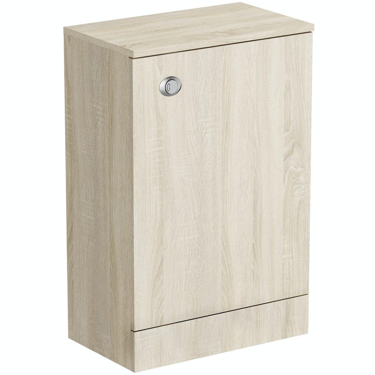 Wye oak back to wall toilet unit