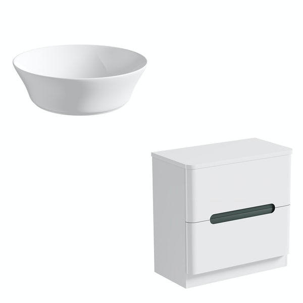 Mode Ellis slate countertop drawer unit 800mm with Bowery basin