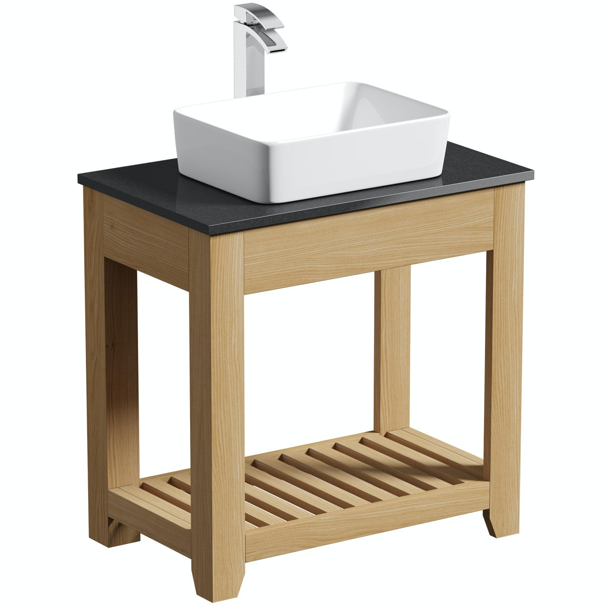 The Bath Co. Hoxton oak washstand with black marble top and Ellis basin 800mm