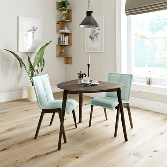 Ernest walnut apartment table with 2 x Hadley light cyan dining chairs