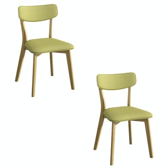 Ernest oak and green pair of dining chairs