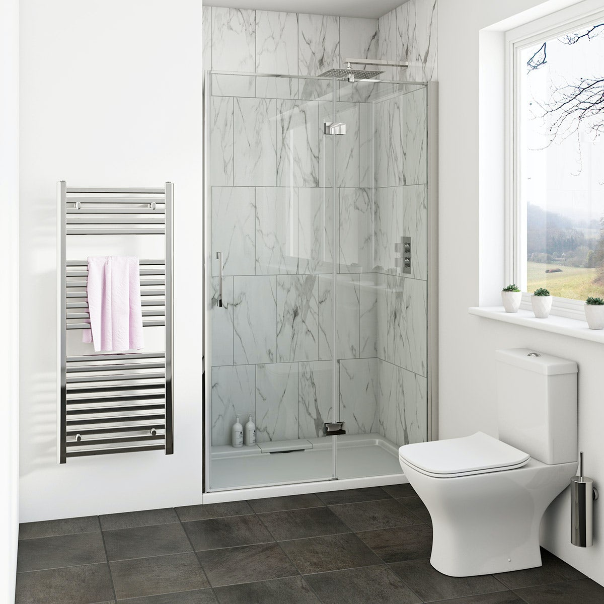 Mode Cooper 8mm hinged easy clean shower door 900mm