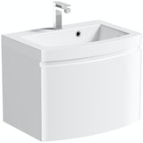 Mode Harrison snow wall hung vanity unit and basin 600mm