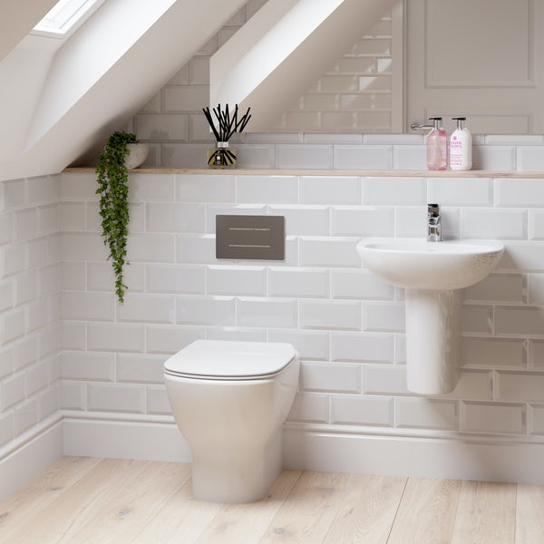 Ideal Standard Tesi back to wall cloakroom suite with semi pedestal basin 450mm