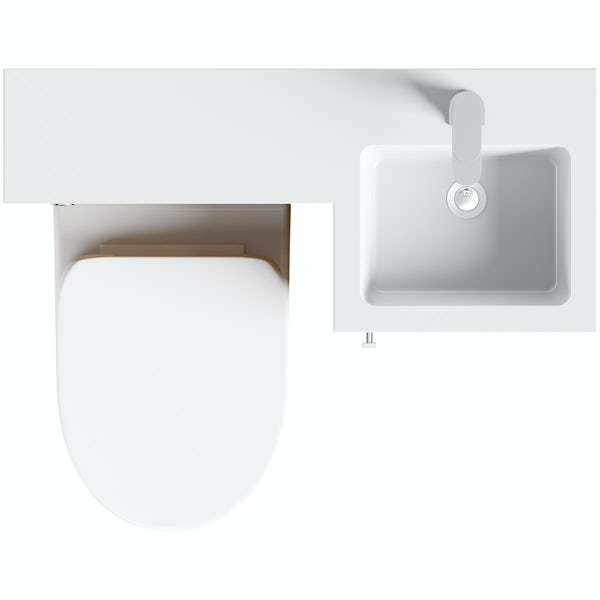 Orchard MySpace walnut right handed unit with Eden back to wall toilet