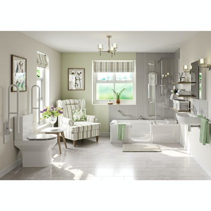 Kineduo independent living left handed complete shower bath suite 1700 x 750