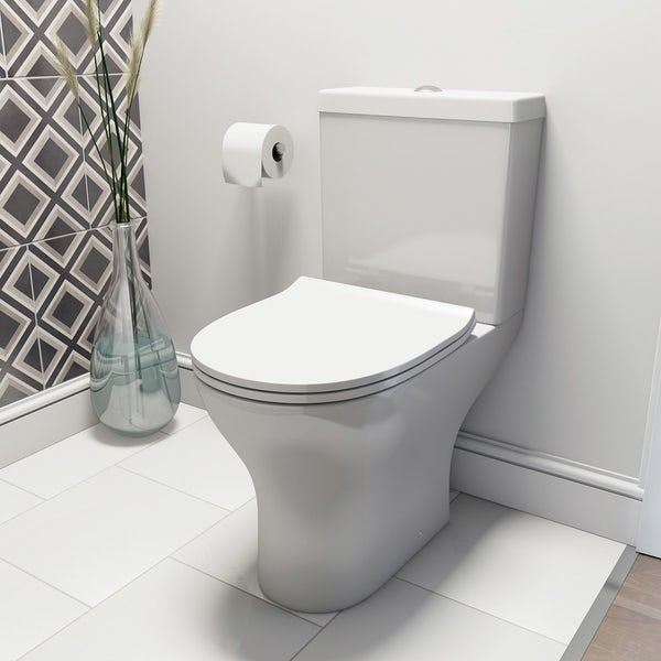 Compact Round close coupled toilet and Pichola wall hung basin cloakroom set