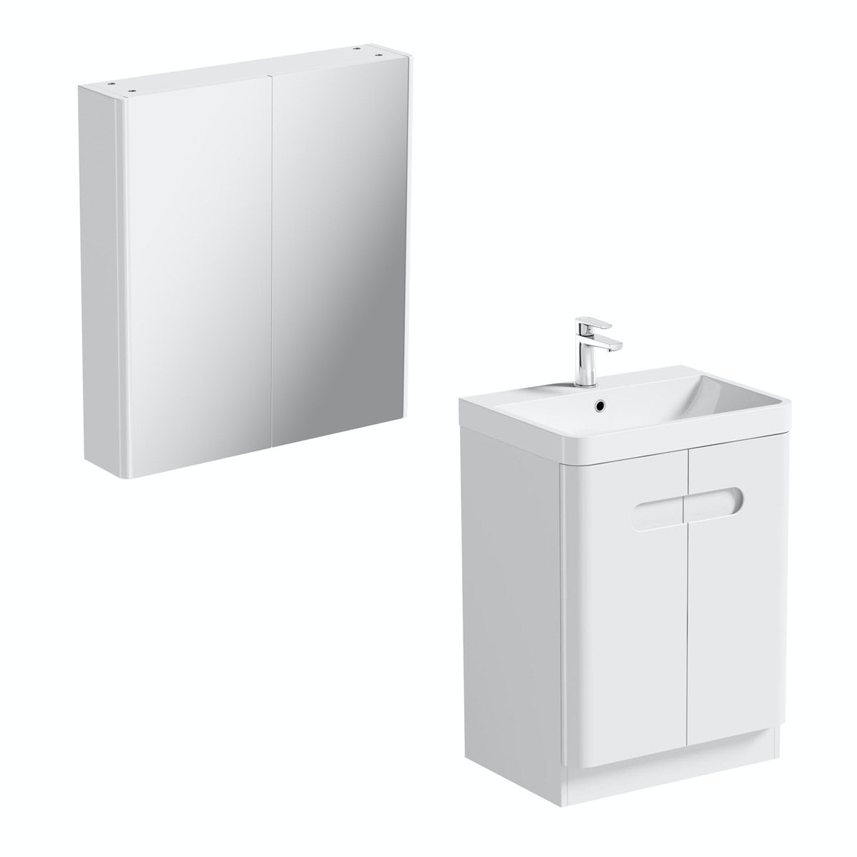 mirror bathroom cabinets offers mode ellis white vanity door unit 600mm and mirror cabinet 19465