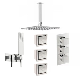Mode Spa complete square thermostatic triple shower valve with diverter and ceiling shower set