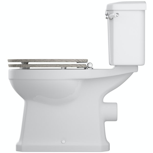 The Bath Co. Camberley close coupled toilet with wooden soft close seat grey effect seat
