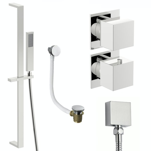 Mode Cooper thermostatic shower valve and slider rail shower bath set