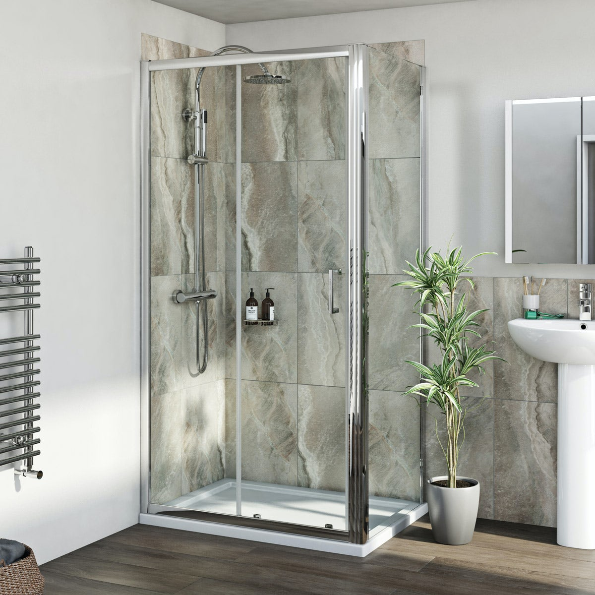 Mira shower system and 6mm sliding door with stone shower tray and waste 1000 x 700