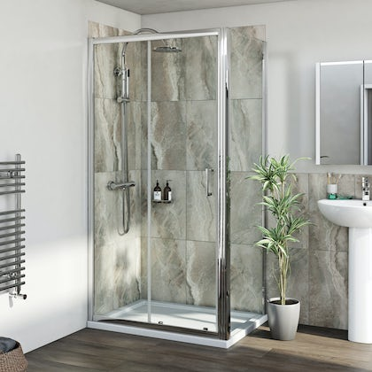 Mira shower system and 6mm sliding door with stone shower tray and waste