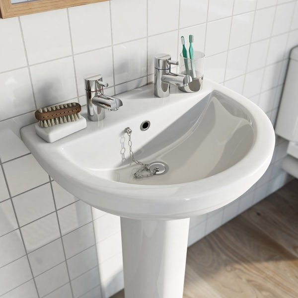 Eden 2 tap hole full pedestal basin