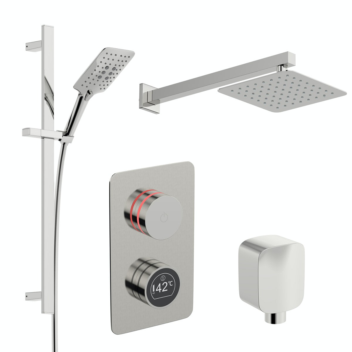 Mode Touch digital thermostatic shower set with square wall arm and slider kit