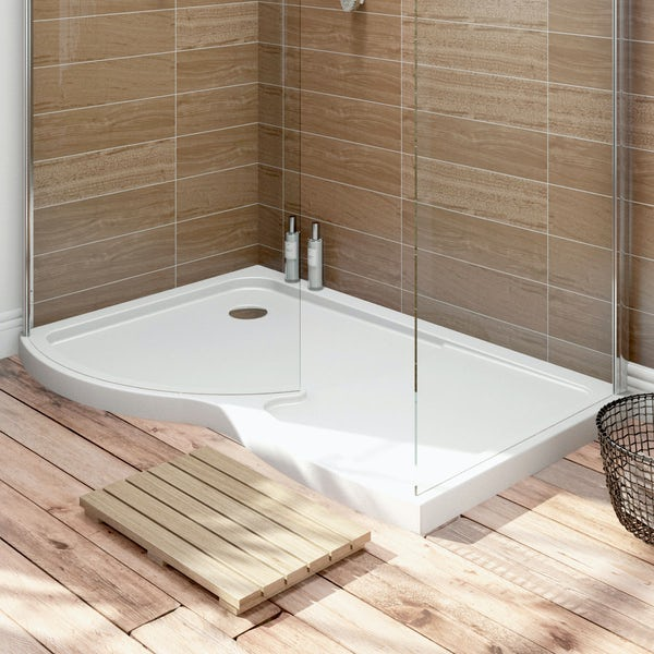 Curved Walk In Shower Enclosure Tray LH