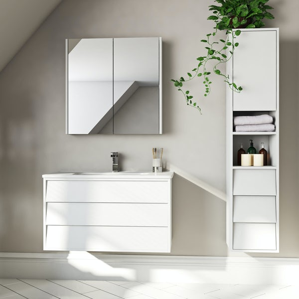 Mode Cooper white furniture package with vanity unit 800mm