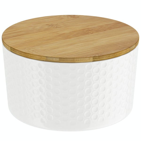 Contour white storage jar small