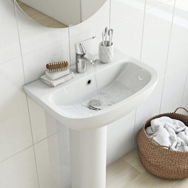 Grohe Bau 1 tap hole full pedestal basin 550mm
