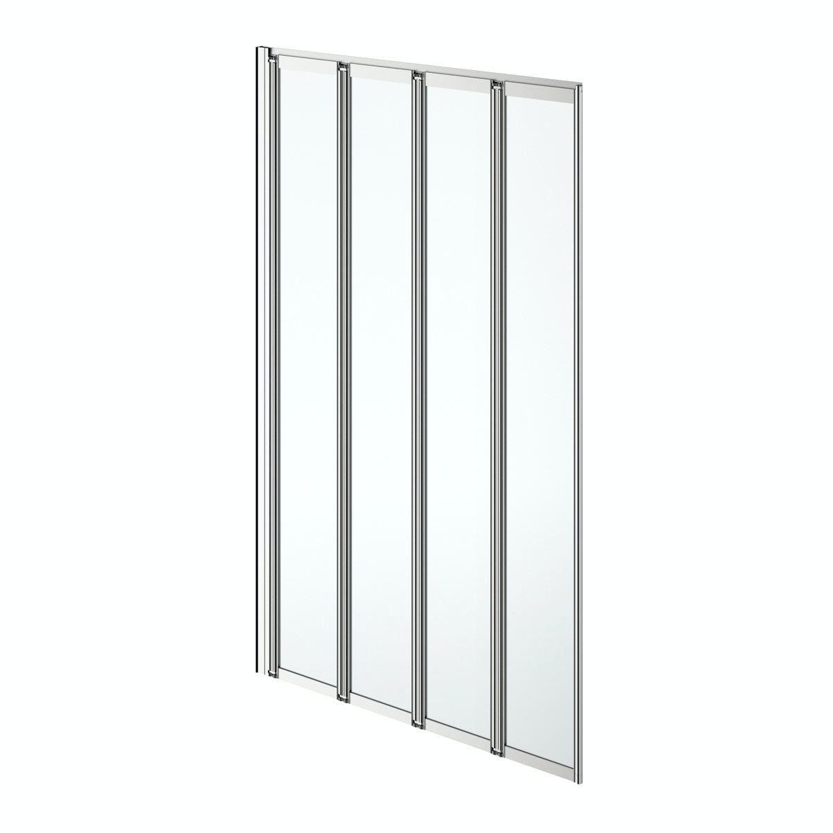 Clarity folding 4 panel straight shower bath screen silver