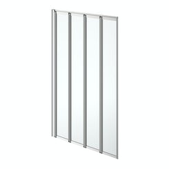 Simplicity folding 4 panel straight shower bath screen silver