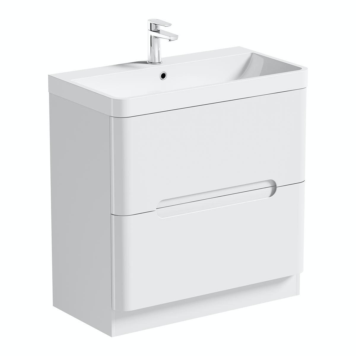 Mode Ellis white vanity drawer unit and basin 800mm