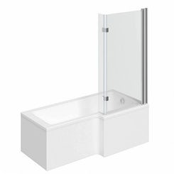 Boston right handed L shaped shower bath 1700mm with 8mm hinged shower screen