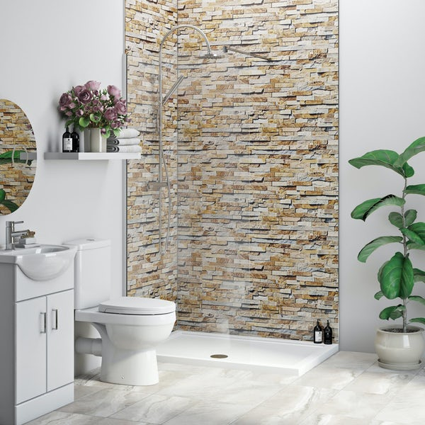 Multipanel Economy Rustic Brick shower wall panel installation set for enclosures over 1000 x 1000