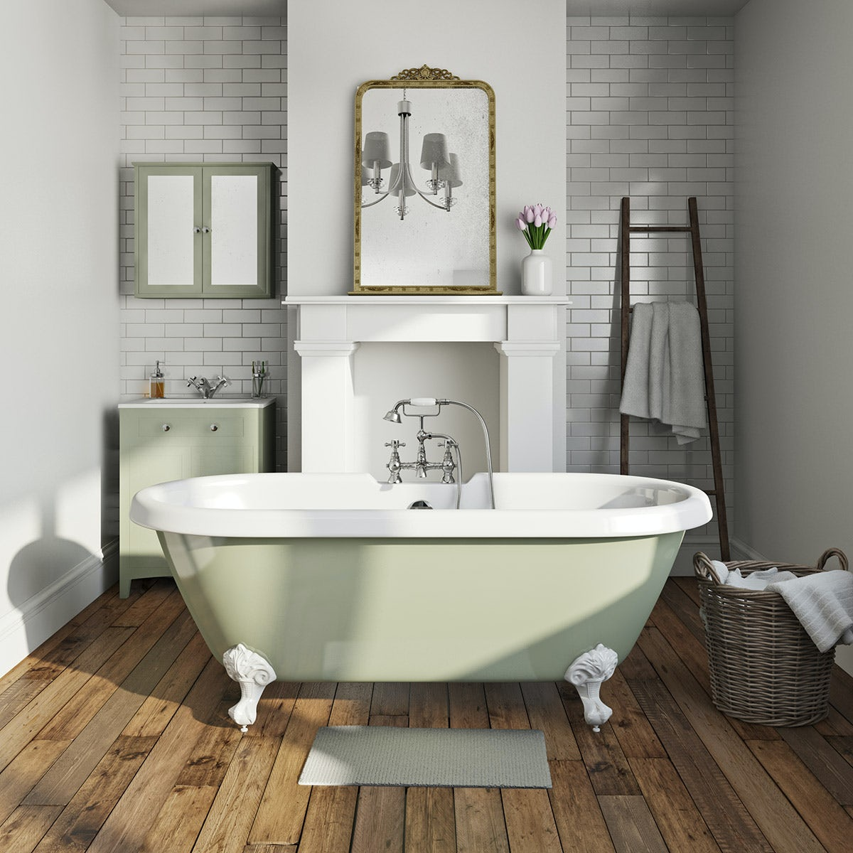 Sage coloured bath with tap and waste